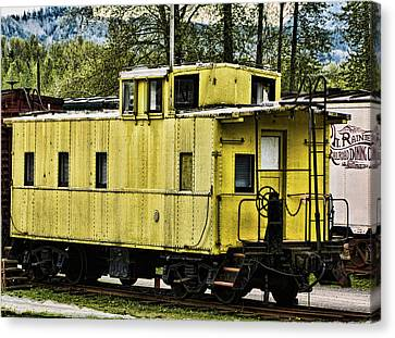 Canvas Print featuring the photograph Yellow Caboose by Ron Roberts