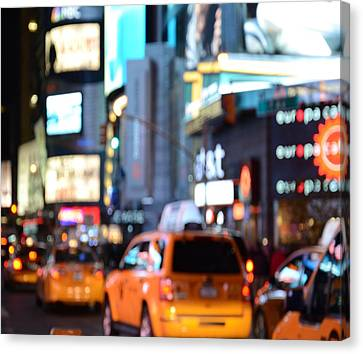 Yellow Cabs At Time Square In New York Canvas Print by Marianna Mills