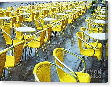Scenes Of Italy Canvas Print - Yellow Chairs In Venice by Mel Steinhauer