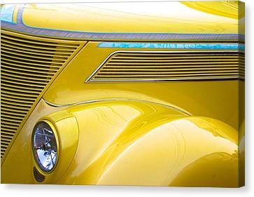 Canvas Print featuring the photograph Yellow Classic Car Contours by Polly Castor