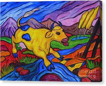 Yellow Cow Jumps A Creek Canvas Print