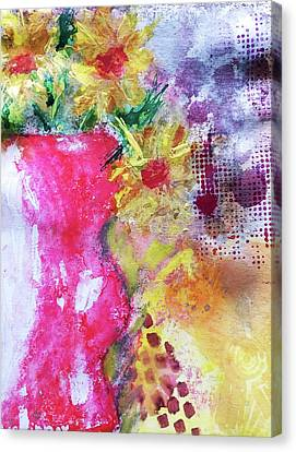 Canvas Print featuring the mixed media Yellow Daisies by Lisa McKinney