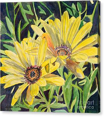 Canvas Print featuring the painting Yellow Daisy by LeAnne Sowa