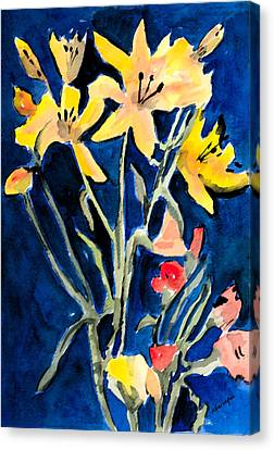 Day Lilly Canvas Print - Yellow Daylilies by Arline Wagner