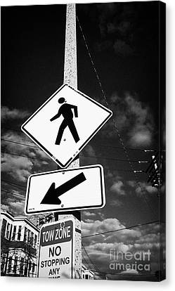 Crosswalk Canvas Print - yellow diamond pedestrian crossing crosswalk sign dorchester Boston USA by Joe Fox