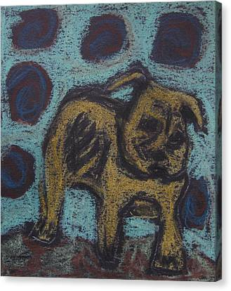 Canvas Print featuring the painting Yellow Dog by Patricia Januszkiewicz