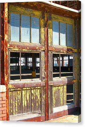 Ford Plant Canvas Print - Yellow Doors Of The Past by Edmund Akers