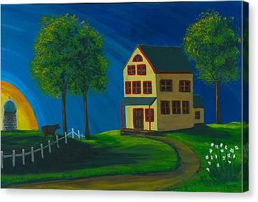 Canvas Print featuring the painting Yellow Farm House by Gail Finn