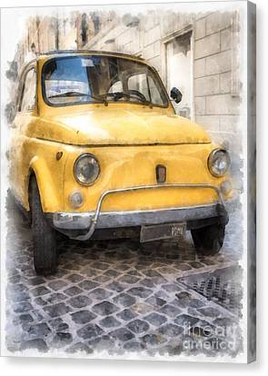 Yellow Fiat 500 Watercolor Canvas Print