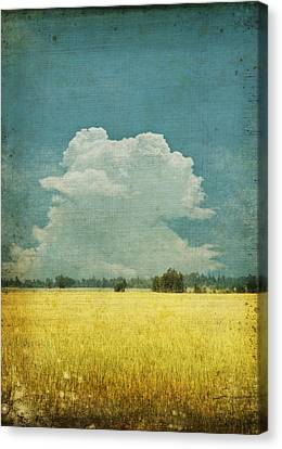 Clouds Canvas Print - Yellow Field On Old Grunge Paper by Setsiri Silapasuwanchai