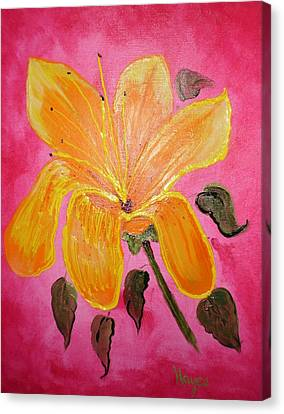 Canvas Print featuring the painting Yellow Flower by Barbara Hayes