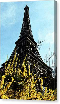 Yellow Flowers Blooming Beneath The Eiffel Tower Springtime Paris France Fresco Digital Art Canvas Print by Shawn O'Brien