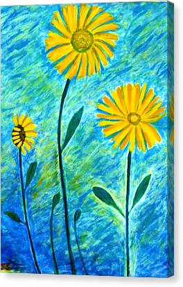 Yellow Flowers Canvas Print by John Scates