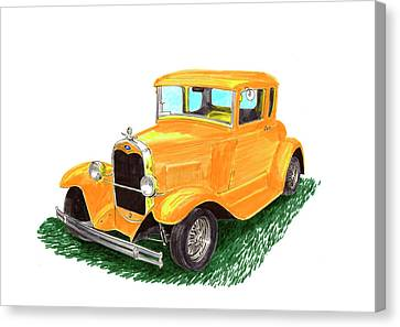 Yellow Ford Hot Rod Coupe Canvas Print by Jack Pumphrey