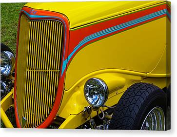 Yellow Ford Hot Rod Canvas Print by Garry Gay