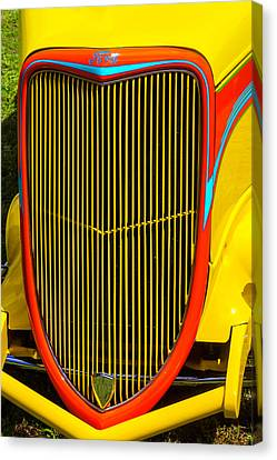 Yellow Ford Hot Rod Grill Canvas Print by Garry Gay