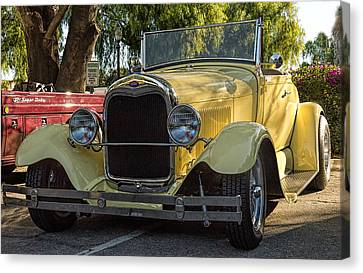 Canvas Print featuring the photograph Yellow Ford Roadster by Steve Benefiel