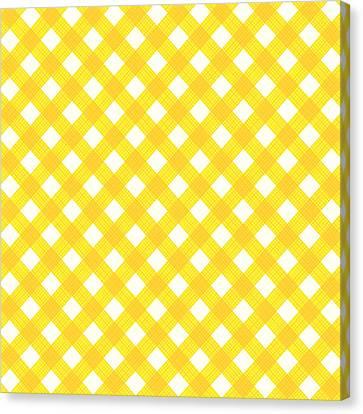 Yellow Gingham Fabric Cloth Canvas Print