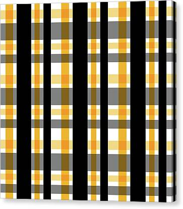 Canvas Print featuring the photograph Yellow Gold And Black Plaid Striped Pattern Vrsn 1 by Shelley Neff