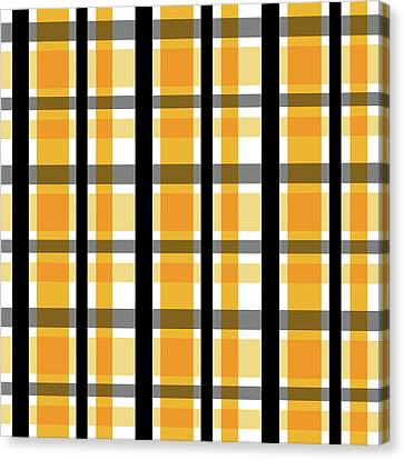 Canvas Print featuring the photograph Yellow Gold And Black Plaid Striped Pattern Vrsn 2 by Shelley Neff