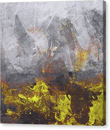 Sun Rays Canvas Print - Yellow Grey Abstraction by Filippo B