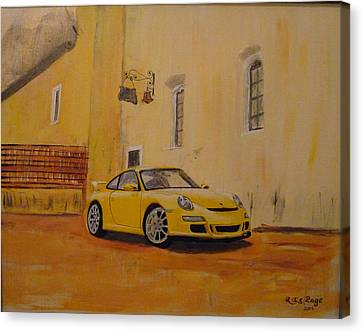 Canvas Print featuring the painting Yellow Gt3 Porsche by Richard Le Page
