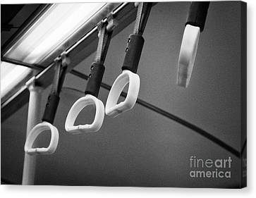 Yellow Hand Holds For Standing Customers On A Bus In The Uk Canvas Print