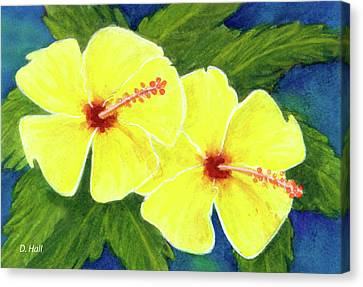 Yellow Hibiscus Flower #292 Canvas Print by Donald k Hall
