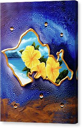 Yellow Hibiscus Hawaii State Flower #142 Canvas Print by Donald k Hall