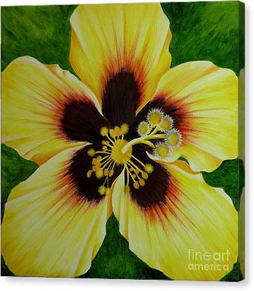 Yellow Hibiscus Macro Canvas Print by Mary Deal