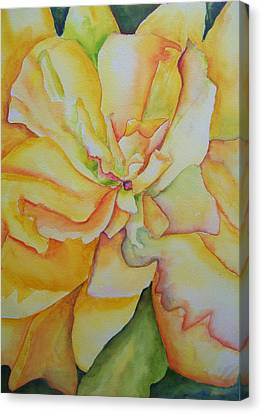 Canvas Print featuring the painting Yellow Hibiscus by Sandy Collier