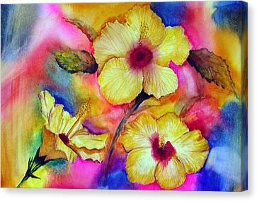 Yellow Hibiscus Canvas Print by Tina Storey