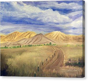 Canvas Print featuring the painting Yellow Hills Of Jensen by Sherril Porter