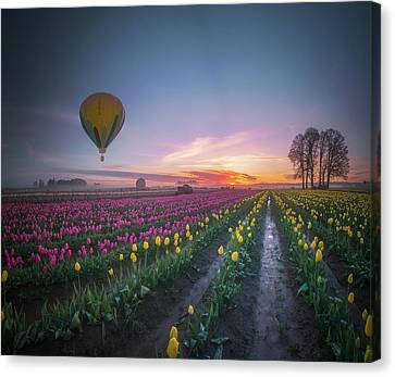 Canvas Print featuring the photograph Yellow Hot Air Balloon Over Tulip Field In The Morning Tranquili by William Lee