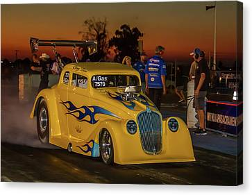 Drag Racing Canvas Print - Yellow Hot Rod by Bill Gallagher
