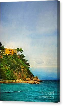 Yellow House In Capri Canvas Print by HD Connelly