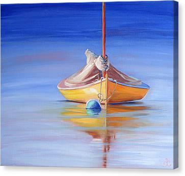 Yellow Hull Sailboat Iv Canvas Print by Trina Teele