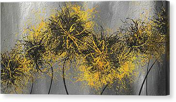 Yellow Hymns - Yellow And Gray Modern Abstract Art Canvas Print by Lourry Legarde