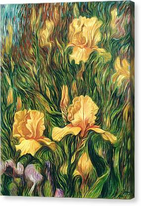 Yellow Irises Canvas Print by Hans Droog