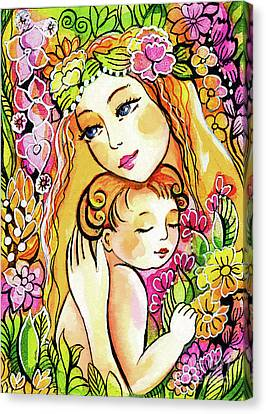 Canvas Print featuring the painting Yellow Madonna With Child by Eva Campbell