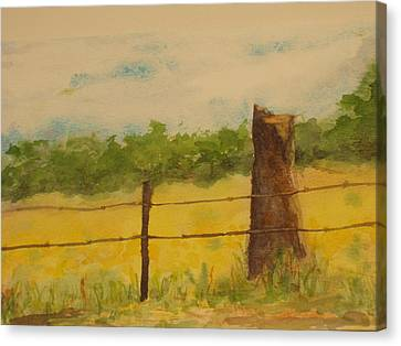 Canvas Print featuring the painting Yellow Meadow  by Vicki  Housel
