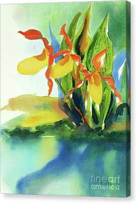 Canvas Print featuring the painting Yellow Moccasin Flowers by Kathy Braud