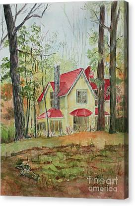 Yellow Mountain Cottage Canvas Print by Janet Felts