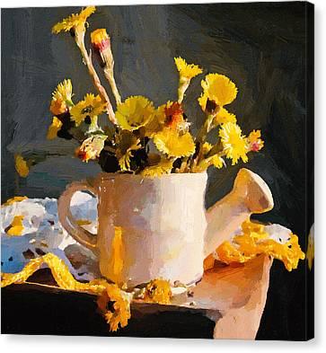 Interior Still Life Canvas Print - Yellow Nature Flowers Still Life by Yury Malkov