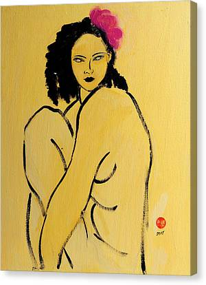 Yellow Nude With Pink Hibiscus Seated Canvas Print