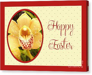 Canvas Print featuring the digital art Yellow Orchid Easter by JH Designs