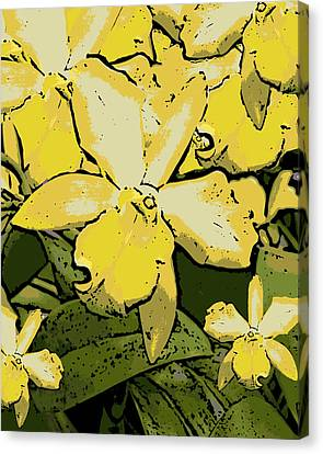 Yellow Orchids Woodcut Canvas Print by Ann Tracy