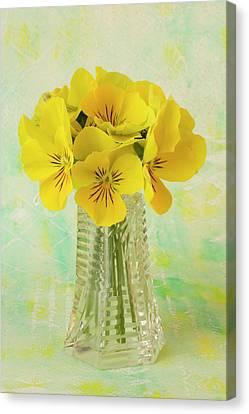 Country Magazine Decor Canvas Print - Yellow Pansies In Vase  by Sandra Foster