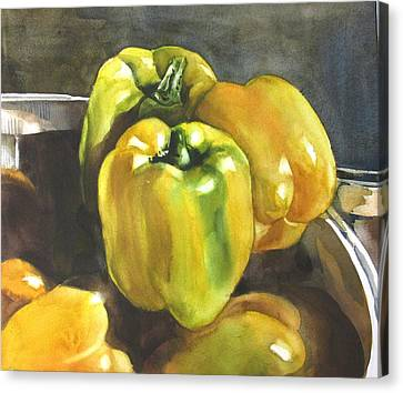 Yellow Peppers Canvas Print by Alfred Ng