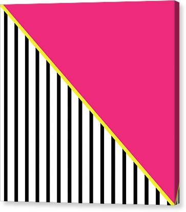 Yellow Pink And Black Geometric 2 Canvas Print by Linda Woods